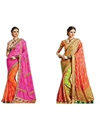 Mantra Fashions Women's Georgette Saree (Mant20_Multi)-Pack of 2