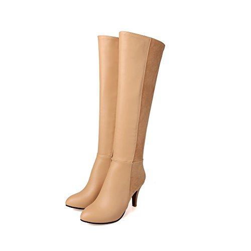 VogueZone009 Damen Rund Zehe Reißverschluss Blend-Materialien Stiefel, Aprikosen Farbe, 36