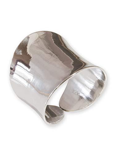 Fly Style 925 Sterling Silber Bandring breit verstellbar, Ring Grösse:20.6 mm (Antike Sterling Silber)