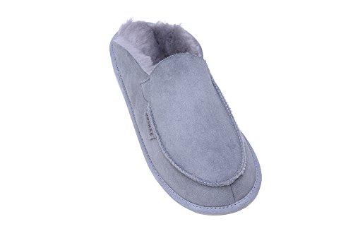 Calde Pantofole Con Fodera In Lana di Pecora Unisex per Uomo e Donna Grigio