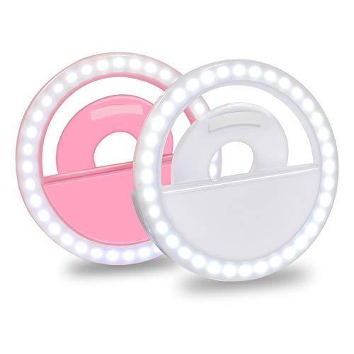 HTFY Selfie Licht Handy Wiederaufladbare mit 36 LED Selfi Ringlicht Clip 3 Lichtstufen für iPhone,Samsung,Huawei,Moto und Tablette[Weiß/Pink] (Clip Für Handy)