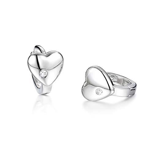 SIMPLOVE Huggie Ohrringe, 925 Sterling Silber Zirkonia Manschette Ohrringe Kleines Herz Creolen Ohrstecker 12mm für Frauen Mädchen