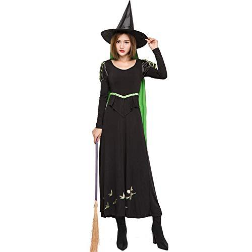 BESTSOON-TGA Erwachsene Damen Halloween Kostüm mit Umhang, süße Hexen Outfit Karneval Party Cosplay Kostüm, Polyester, - Süße Hexe Kostüm Frauen