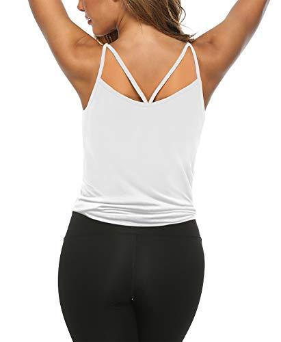 ZJCTUO Damen Tops Sommer V-Ausschnitt Ärmellose Tanktop Oberteile Bluse Sexy Elegant Crop Tops Weste Shirt mit Trägern -