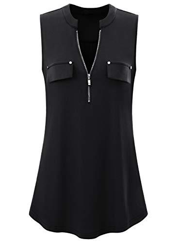Rayon-bluse Top (Amrto Damen Tank Tops Sommer Ärmellose Shirts V-Ausschnitt Bluse Shirt Tops mit Reißverschluss, Schwarz XL)