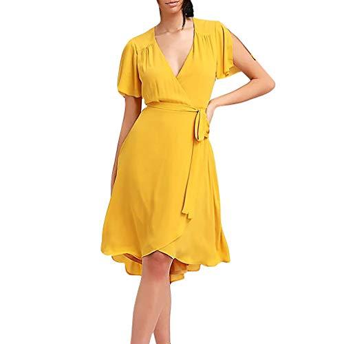 GOKOMO Art- und Weisefrauen reizvoller V-Ansatz unregelmäßiges festes schnüren Sich Oben kurzes Hülsen-Kleid(Gelb,Small)