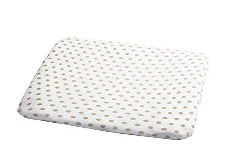 ODENWÄLDER Bezug für Wickelauflage/Maße 75cm x 85cm / Baumwolle/abnehmbar & waschbar/Wickelunterlage Wickeltischauflage, Design:Punkte beige, Größe:1er Pack