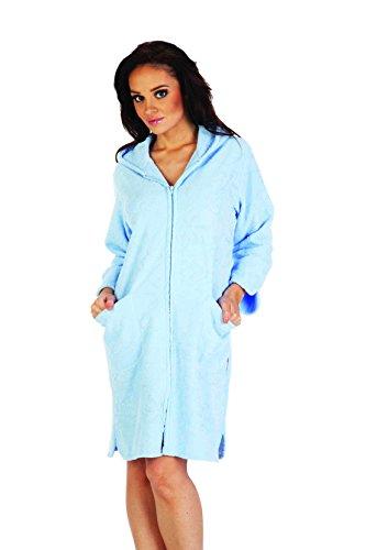 FOREX Lingerie flauschiger Bademantel Mantel mit praktischem Reißverschluss und kuscheliger Kapuze, blau, Gr. XL