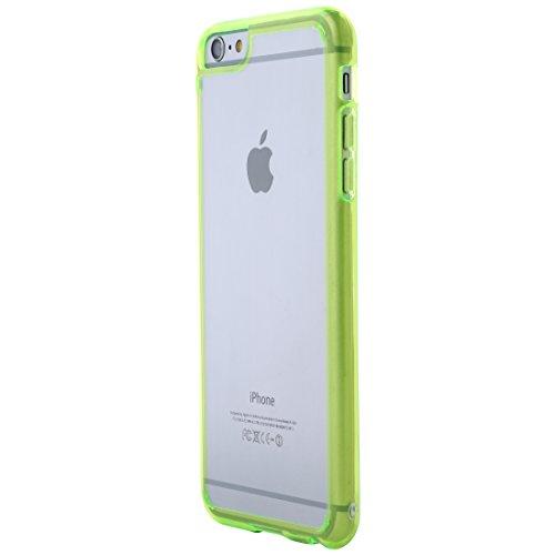 Ultratec-Mobile 331400000580 Hybrid Schutzhülle für Apple iPhone 6 Plus/6s Plus (Reißverschluss-Tasche, farbiger TPU-Rand) klar/grün - Hybrid Mobile