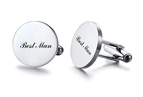 Vnox Herren Edelstahl beste Mann Manschettenknöpfe Shirt Stud für Hochzeit Engagement Valentine Geschenk,Silber
