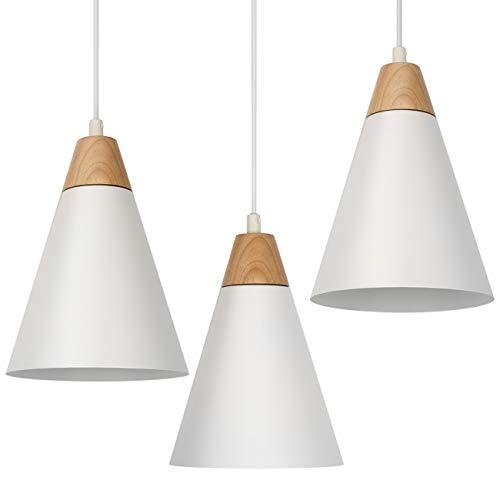 Tomons Pendelleuchte Hängeleuchte 3er-Pack kleine Pendellampe aus Holz Deckenlampe weiß für Wohnzimmer Esszimmer Restaurant