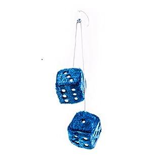 Plüschwürfel als Paar mit Band und Saugnapf, verstellbar, 7,5 cm, lieferbar in den Farben Rot, Blau oder Weiß (Blau)