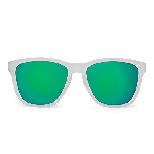 JIM HALO Retro Polarisiert Sonnenbrille Reflektierend Spiegel Linse Brille Herren Damen(Matt Transparent/Polarisierter Spiegel Grün)