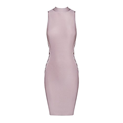 HLBandage Sleeveless High Neck Hollow Out Rayon Bandage Dress Rose