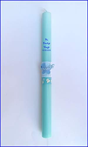 Vela (CIRIO) para Bautizo DE Cera BAÑADA EN Color Azul. Medida 3,2 x 40 CM Decorada con Cochecito BEBÉ DE Fieltro Y Cintas Decorativas Infantiles. (Personalizada)