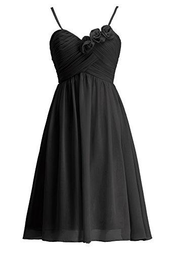 KekeHouse® Robe à fines bretelle Courte de Cérémonie Soirée Mariage Femme fille robe de demoiselle d'honneur Noir