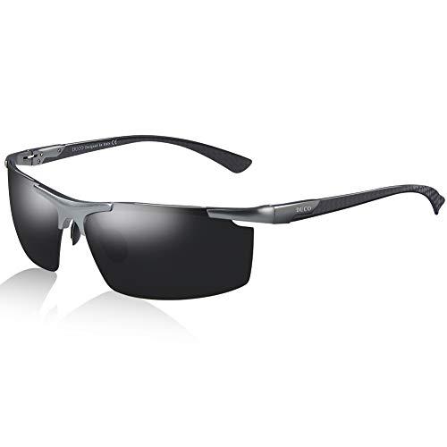 DUCO Herren Polarisierte Sonnenbrille mit Metallrahmen und Kohlefaser Brille Beine 8207 (Gunmetal Rahmen Graue Linse)