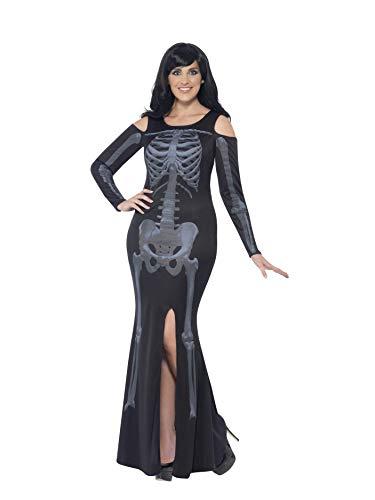 Smiffys, Damen Skelett Kostüm, Kleid, Größe: X3, - Smiffys Damen Skelett Kostüm