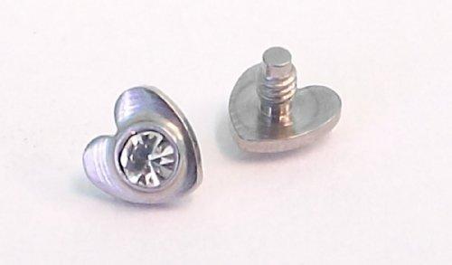 Dctattoo Dermal Piercing Cz Edelstein Herz Anker Kopf/Top – Farbe Auswählen - Durchsichtig
