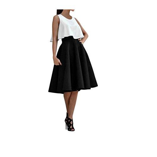 Koly_Donne Top Vintage Stretch vita alta pattinatore pieghe swing Skirt Set (Vestito Blu Camicia A Righe)