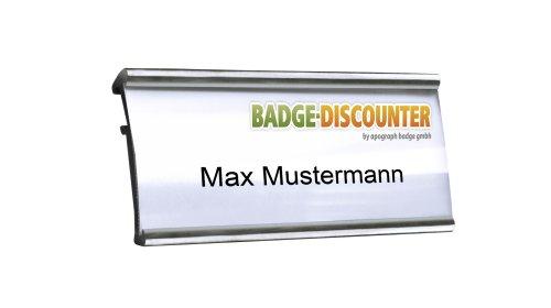 Aluminium Namensschilder Komplettset MSG silber magnetisch 10 Stück zum Anstecken an Kleidung Namensschild mit starkem Magnet Clip Nadel Drucketiketten A4 Magnetnamensschild bedrucken Badge 72x32