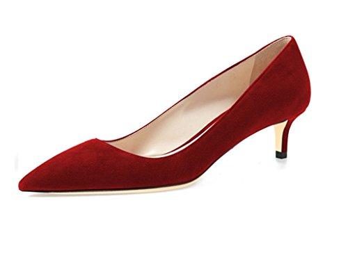 EDEFS Scarpe col Tacco Donna,Donna Scarpe con Tacco Gattino 6.5CM Rosso