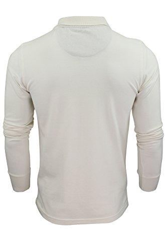 "Brave Soul - Herren Polo T-Shirt ""Lincoln"" Pique Lange Ärmel Naturfarben"