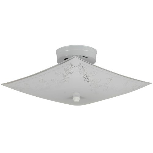 Sunlite 112KL 12-Inch Square Keyless 2 Lite Decorative Ceiling Fixture, White Finish with Ornate White Glass by Sunlite -