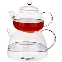 TantiToni Teekanne Glasteekanne Caydanlik Demlik aus Borosilikatglas Hitzebeständig