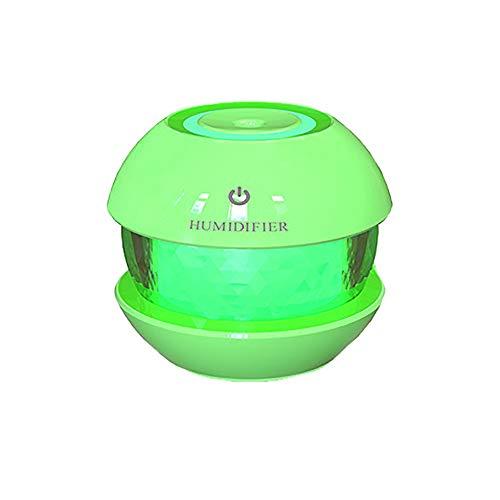 LED Lampe Luftbefeuchter, USB Wiederaufladbar Auto Luft Aroma Diffusor, Mini Zerstäubung Cool Nebel Süß tragbar Ultraschall Haushalt Luftbefeuchter, Sprühen Schönheit Deodorant Luftbefeuchter,Green