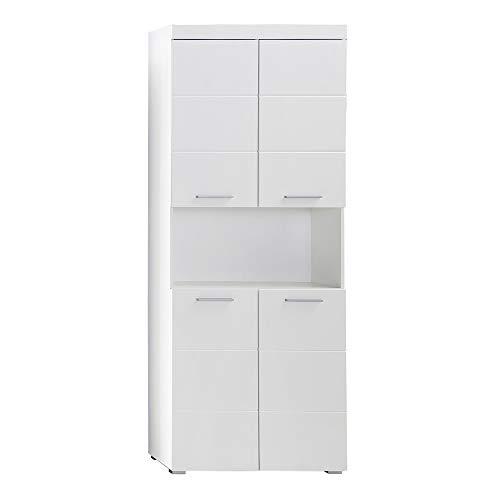 trendteam smart living Badezimmer Hochschrank Schrank Amanda, 73 x 190 x 31cm in Weiß / Weiß Hochglanz mit offenen Fach und viel Stauraum