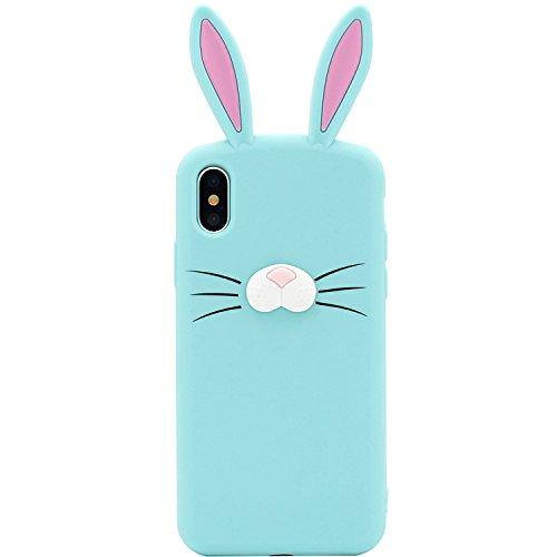 iPhone X Fall, MC Fashion Cute 3D Kaninchen Bunny Schnurrbarthaare Ohren Tier Fall, Weichen und Silikon Cover Slim für Apple iPhone X (2017Release), Mint (Ohren Fall Bunny)