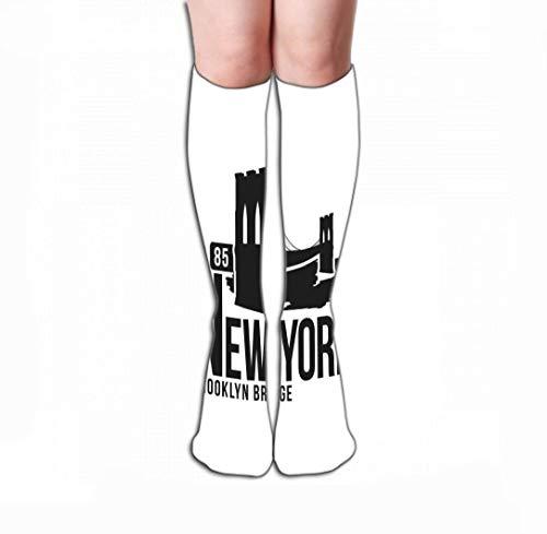 HUKEDCQ Men Women Outdoor Sports High Socks Stocking New York Brooklyn Bridge Typography Print Stylized Brooklyn Bridge Silhouette Graphic Design Tile Length 19.7
