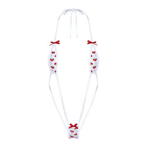 Agoky Damen Micro Bikini Set Erdbeere Motiv Neckholder BH Top und Mini Slip sexy Bademode Frauen Dessous Reizwäsche Weiß Sling One Size
