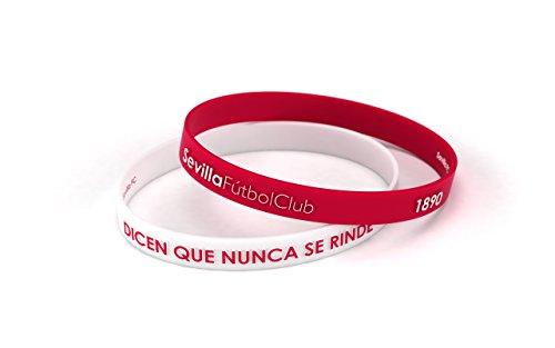 Pulsera Sevilla Fútbol Club Relieve Blanca y Roja Estándar para Hombre y Mujer | Pulsera Sevillista de silicona primera equipación | Apoya al Sevilla con un producto oficial | SFC