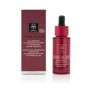 Apivita Wine Elixir Replenishing Firming Face Oil with Grape Seed Oil Polyphenols, 30ml