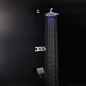 Modern Style Chrome Finish Wasserfall LED Wall Mount Dusche Wasserhahn