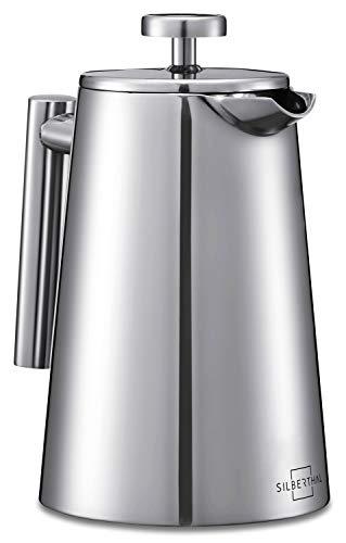 SILBERTHAL French Press Edelstahl Kaffeebereiter - Doppelwandig Thermo-isolierte Kaffeepresse 0,7l - Spülmaschinenfest - für 4-6 Tassen leckeren Kaffee