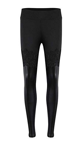 Leggings - Pantacollant - Fuseaux - Damen - Mädchen - Spitze - Leder - Kunstleder - Sexy - Moda - Geschenkidee - Farbe Schwarz - Steampunk - hohe Taille - - Pro Horror Kostüm