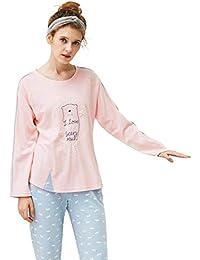 068181f6f1 Damen Schlafanzug Frühling Herbst Kuschelig Pyjama-Set Rundhals Langarm  Unikat Style Elegante Cartoon-Muster