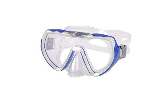 AQUAZON STARFISH Masque tuba junior Medium, lunettes de plongée, lunettes de natation, masque de plongée pour enfants, jeunes de 7 à 14 ans, verre trempé, très résistant, forme ergonomique, couleur:blau