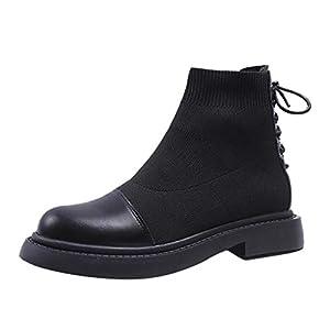 Stiefeletten Damen Winter Leder Mode Kleine Herbst Socken Stiefel Elastische Kurze Flache Frauen Frezeitschuhe Atmungsaktive
