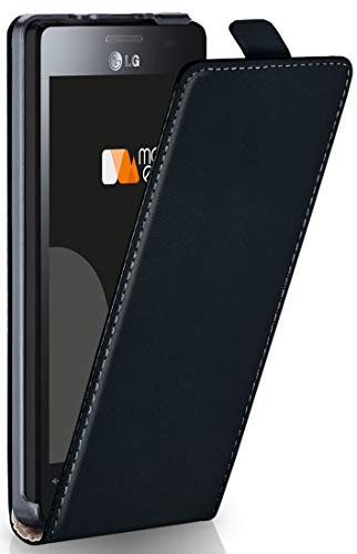 moex LG E430 Optimus L3 II | Premium Flip Cover Phone Case 360° Durable PU  Leather Case Cover - black