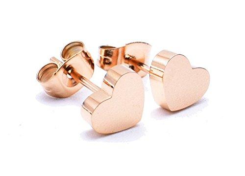 findout Ladies 14K Rose Gold überzogenen Titanstahlrund Bean Herz-Stern-Perlen Kugelohrringe, Für Frauen Mädchen (Herzen)