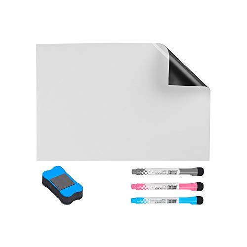 Tapete Magnetischer Whiteboard-Kühlschrank, Magnete Whiteboard-Blatt A3 + für Kühlschrank, Küchennotiz Schwarzes Brett Tagesmenü, Trockenlösch-Erinnerungsbrett mit 3 Markierstiften Radiergummi Wohnacc