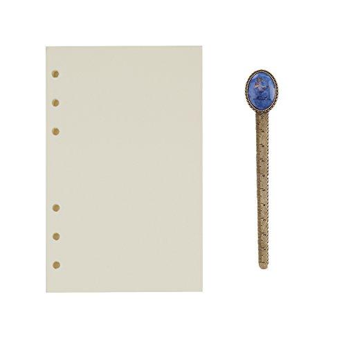 A6 6-Ring Binder Planer Refill Papier für Tagebuch Notizbuch Ringbuch Reisetagebuch Blanko Papier Nachfüllpapier Notizpapier Ersatzblätter Büro Schule Schreiben (100 Blätter) - Ringe Sechs