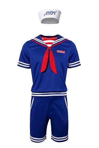 Matrose Männlich Kostüm - NUWIND Steve Scoops Ahoy Kostüm, ausgefallenes Kostüm, Halloween, Cosplay-Kostüm, Matrosen-Uniform, komplettes Set für Herren