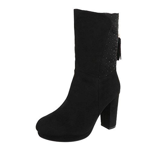 Ital-Design High Heel Stiefeletten Damen-Schuhe High Heel Stiefeletten Pump Strass Besetzte Reißverschluss Stiefeletten Schwarz, Gr 38, J29-