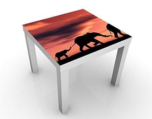 Savannah Beistelltisch (Apalis Design Tisch Savannah Elefant Family 55x55x45cm Beistelltisch Couchtisch, Tischfarbe:Weiss;Größe:55 x 55 x 45cm)