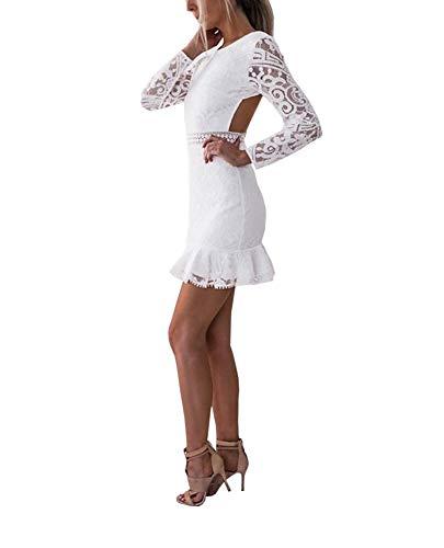 Loalirando Robe Moulante Femme Sexy en Dentelle Dos Nu Manches Longues Transparentes Mini-Robe Slim Blanche, Blanc, L/38